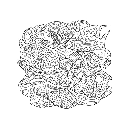 cockleshell: Black and white pattern for coloring book. Sea shells, starfish, sea horse doodle hand drawing background