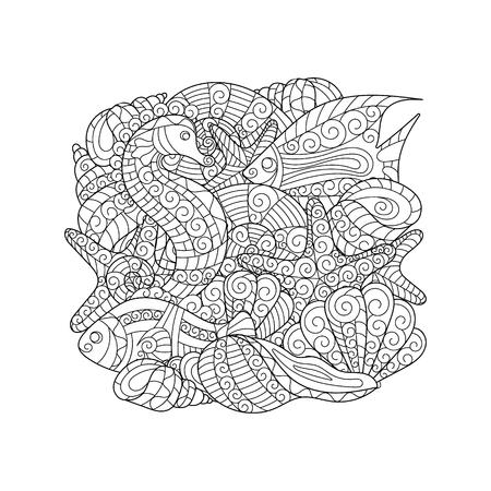 Estrella De Mar Y Concha, Ilustración Vectorial Para Colorear Para ...