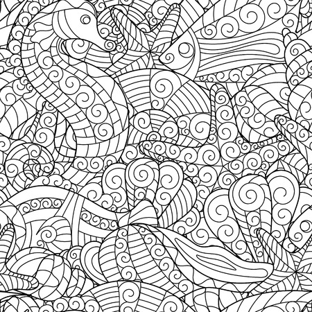 horse fish: Black and white seamless pattern for coloring book. Sea shells, starfish, sea horse, fish doodle hand drawing background