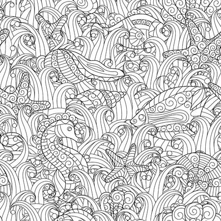 horse fish: Black and white seamless pattern for coloring book. Sea shells, starfish, sea horse, fish between seaweed. Doodle hand drawing background