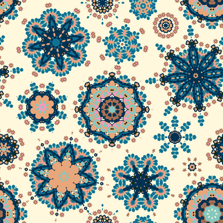 textile texture: Ethnic pattern in blue beige color with stylized flowers, leaves and circular shapes with Kazakh, Turkish, Uzbek motifs Seamless vector texture for print, spring summer fashion, fabric, textile Illustration