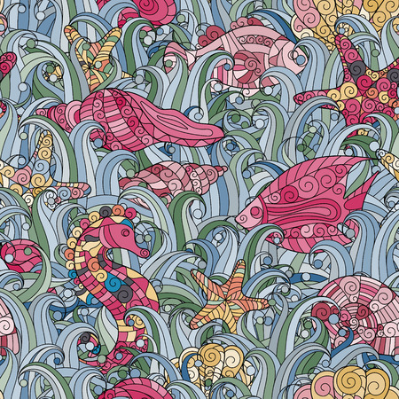 underwater fishes: Vector seamless pattern with hand drawn fishes, starfish, shells, seaweeds and sea-horse. Underwater creatures. Ocean background. Tropical sea life design. Illustration