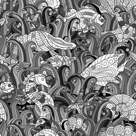 oceanside: Vector seamless pattern with hand drawn fishes, starfish, shells, seaweeds and sea-horse. Underwater creatures. Ocean background. Tropical sea life design. Illustration