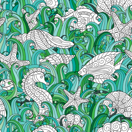 cartoon seahorse: Seamless pattern of colorful hand drawn seashells, starfish and seahorse
