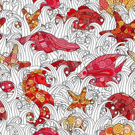 star cartoon: Seamless pattern of colorful hand drawn seashells, starfish and seahorse