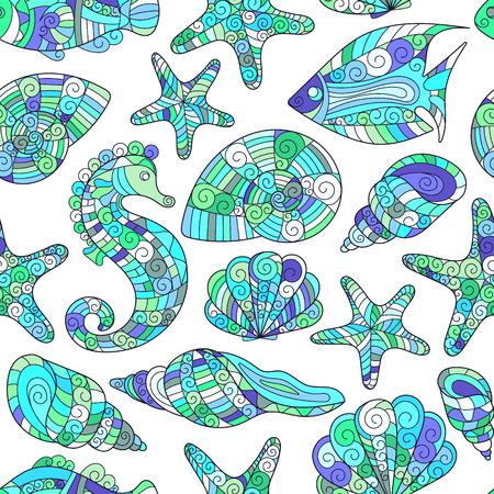 caballo de mar: Modelo incons�til estilizado de la c�scara del mar del zentangle. Dibujados a mano de la ilustraci�n del vector del Doodle acu�tico. vida del oc�ano. Conchas, estrellas de mar, peces, caballitos de mar.