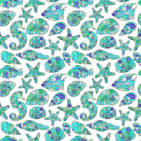 horse fish: Zentangle stylized sea shell seamless pattern. Hand Drawn aquatic doodle vector illustration. Ocean life. Shells, starfish, fish, sea horse. Blue on white background.
