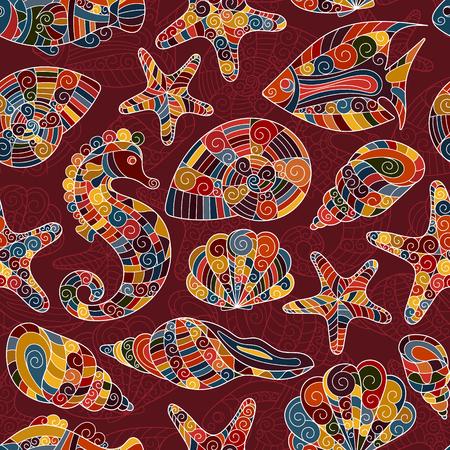 caballo de mar: Modelo inconsútil estilizado de la cáscara del mar del zentangle. Dibujados a mano de la ilustración del vector del Doodle acuático. vida del océano. Conchas, estrellas de mar, peces, caballitos de mar. colores calientes brillantes en el fondo vinoso.