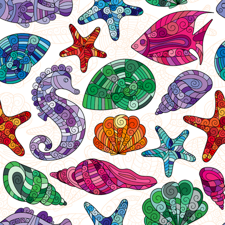 oceanside: Vector seamless pattern with hand drawn fishes, shells, starfish, sea-horse. Underwater creatures ocean background. Tropical sea life design.
