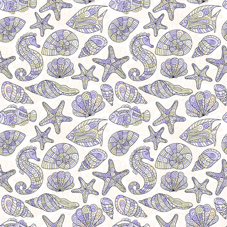underwater fishes: Vector seamless pattern with hand drawn fishes, shells, starfish, sea-horse. Underwater creatures ocean background. Tropical sea life design.