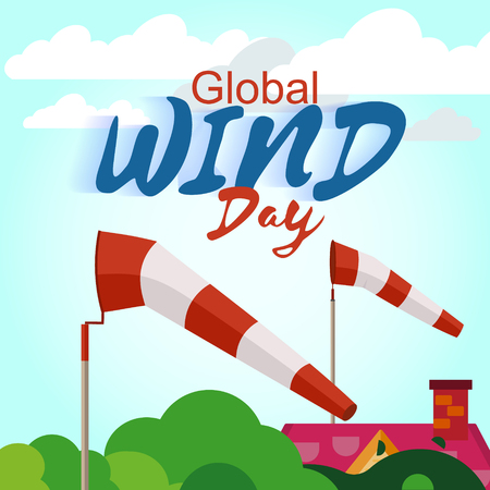 june: Global wind day june 15th. Ecology power concept. Ecology concept.