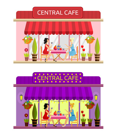 outdoor chair: Open cafe building facade with outdoor street chair seats and table. Two girls drinking coffee outside. Flat style vector illustration isolated on white background. Day and evening composition.