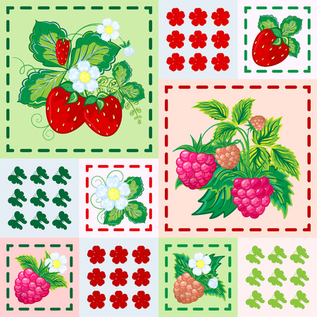 patchwork background: Patchwork background with strawberries and raspberries. Seamless vector pattern. Bright red green pink