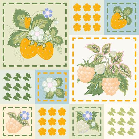patchwork background: Patchwork background with strawberries and raspberries. Seamless vector pattern. Blue orange white backdrop.