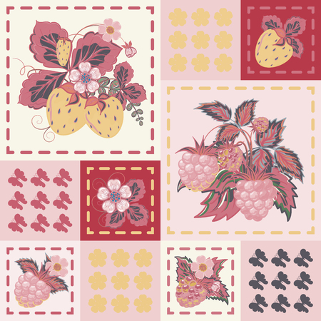 patchwork background: Patchwork background with strawberries and raspberries. Seamless vector pattern. Pastel pink yellow gray backdrop.