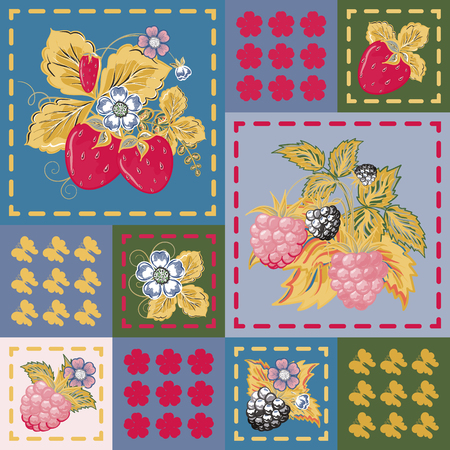 patchwork background: Patchwork background with strawberries and raspberries. Seamless vector pattern. Dark pink yellow green backdrop.