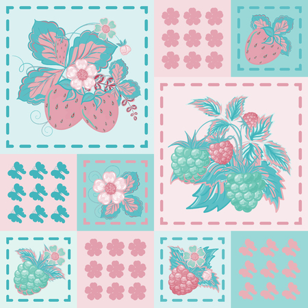 patchwork background: Patchwork background with strawberries and raspberries. Seamless vector pattern. Delicate pink blue backdrop. Illustration