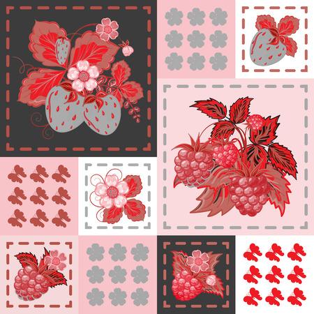 패치 워크 배경 딸기와 라스베리입니다. 원활한 벡터 패턴입니다. 빨간색 회색 배경입니다.