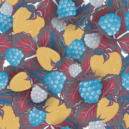 vinous: Seamless pattern of hand drawing image of delicious ripe raspberries and strawberries. Vector background. Pastel yellow blue vinous illustration.