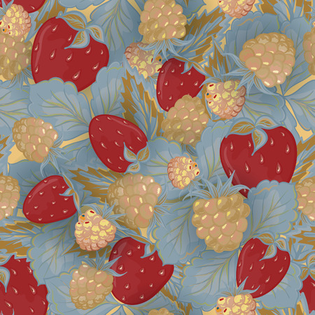 vinous: Seamless pattern of hand drawing image of delicious ripe raspberries and strawberries. Vector background. Vinous beige gray illustration.