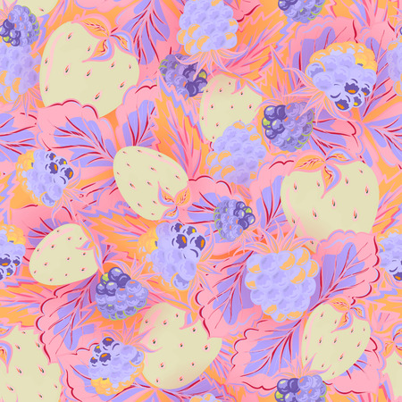picked: Seamless pattern of hand drawing image of delicious ripe raspberries and strawberries. Vector background. Delicate blue pink yellow illustration.