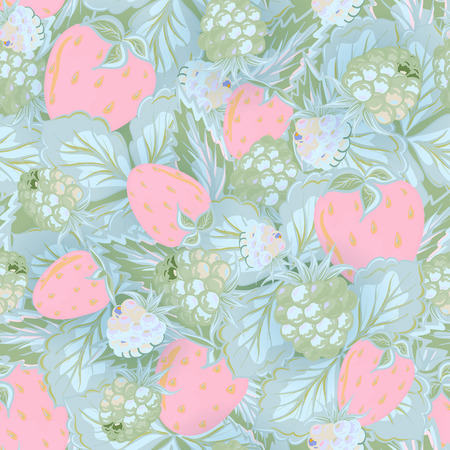 picked: Seamless pattern of hand drawing image of delicious ripe raspberries and strawberries. Vector background. Delicate blue pink green illustration.