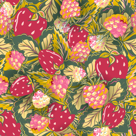 raspberry pink: seamless pattern with hand drawing summer berries. Strawberry and raspberry. Vector illustration. Red pink green background. Illustration