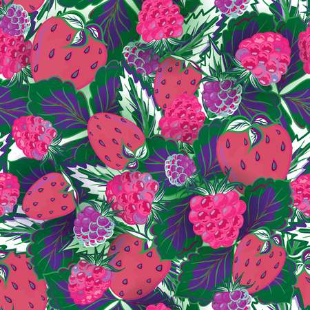 raspberry pink: seamless pattern with hand drawing summer berries. Strawberry and raspberry. Vector illustration. Violet pink green background.