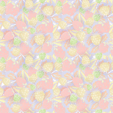 raspberry pink: Natural organic berries seamless pattern with hand drawing strawberry and raspberry vector illustration. Delicate pink yellow green background.