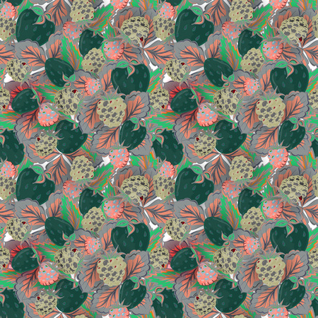 raspberry pink: Natural organic berries seamless pattern with hand drawing strawberry and raspberry vector illustration. Dark green pink background.