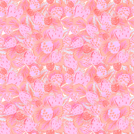raspberry pink: Natural organic berries seamless pattern with hand drawing strawberry and raspberry vector illustration. Delicate pink background.