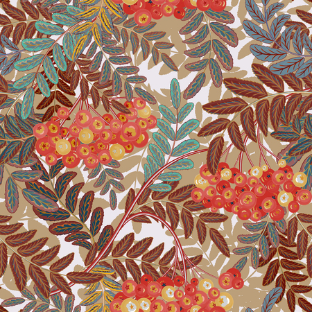 ashberry: Seamless pattern with hand drawing pastel blue brown leaves and red ash-berry (rowanberry). Vector illustration Illustration