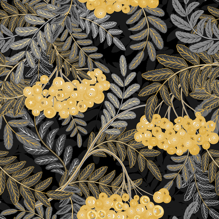 ashberry: Seamless pattern with hand drawing gray silver leaves and golden tone ash-berry (rowanberry). Vector illustration Illustration