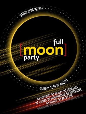 thai dance: Full Moon Beach Party Flyer. Vector Design EPS 10.