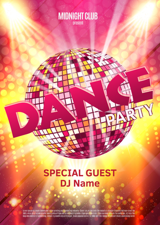 Dance Party Poster Background Template - Vector Illustration. Disco ball. Vettoriali