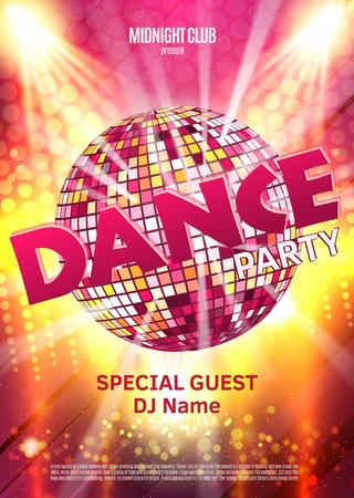Tanz-Party-Plakat-Hintergrund-Vorlage - Vektor-Illustration. Disco-Kugel. Standard-Bild - 59139604