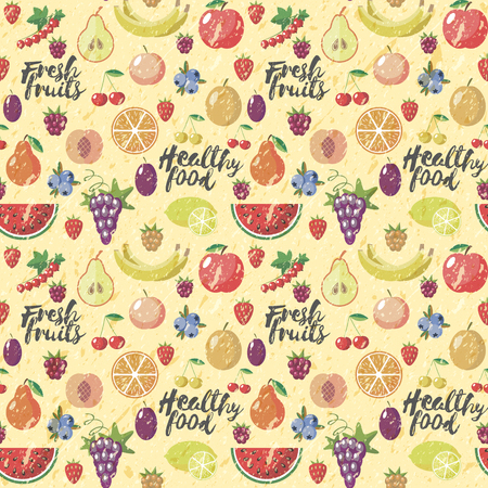 grange: Fresh fruits flat style seamless background. Healthy food patern. Vector. Old style. Grange.