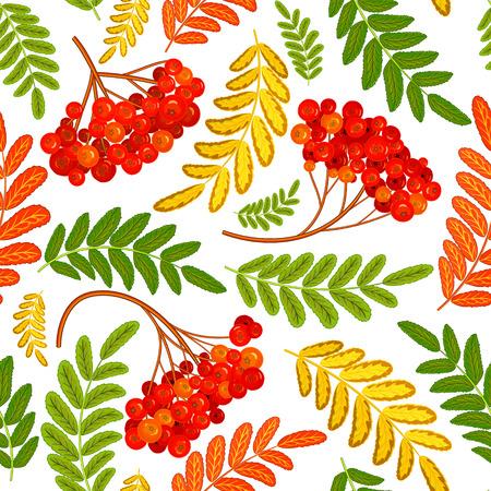 Rowan berry seamless texture. Autumn vector illustration.