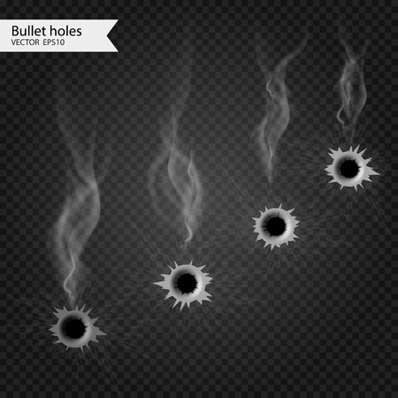 hitman: Bullet holes with smoke. Vector Isolated. Really transparent effect. Illustration