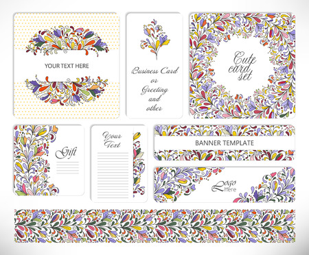 valentin day: Set of floral universal cards. Wedding, anniversary, birthday, Valentin day, party invitations, art poster Vector illustration