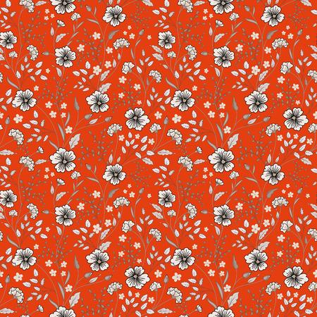Sunny pastel floral print. Seamless background. Cute little flowers. Blue on orange. Vector illustration.