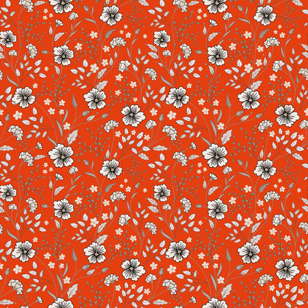 Sunny pastel floral print. Seamless background. Cute little flowers. Blue on orange. Vector illustration.