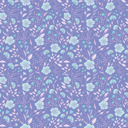Sunny pastel floral print. Seamless background. Cute little flowers. Blue on lilac. Vector illustration.