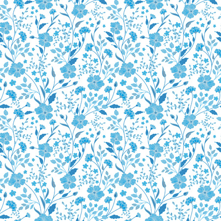 Sunny pastel floral print. Seamless background. Cute little flowers. Blue on white. Vector illustration.