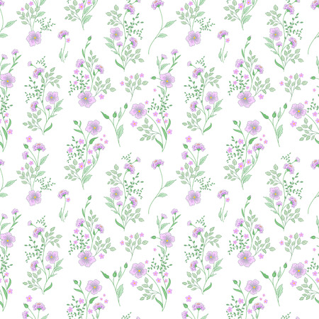 small flower: Small flower pattern. Vintage floral seamless background. Delicate lilac green on white background.