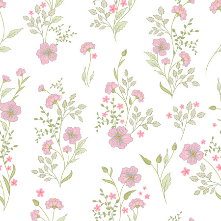 small flower: Small flower pattern. Vintage floral seamless background. Delicate pink green on white background. Illustration