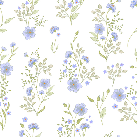 small flower: Small flower pattern. Vintage floral seamless background. Delicate blue green on white background. Illustration
