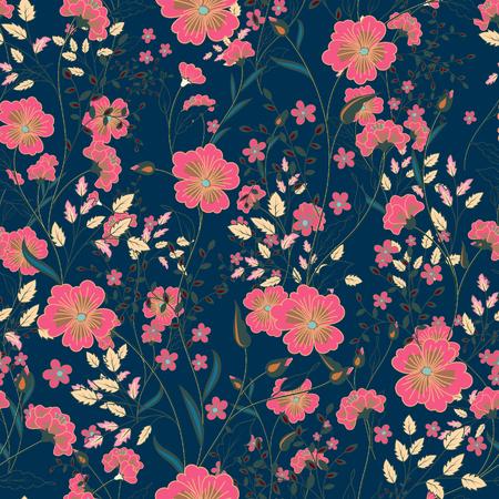 dark pastel green: Vector vintage seamless floral pattern. Herbs and wild flowers. Botanical Illustration engraving style. Pastel pink green on dark blue background Illustration