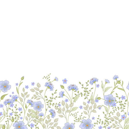 pollinate: Horizontal seamless border with cute little flowers and herbs. Vector illustration