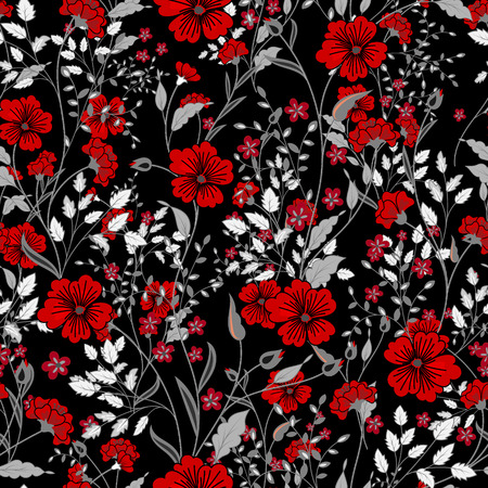 Vector vintage seamless floral pattern. Herbs and wild flowers. Botanical Illustration engraving style. Colorful red gray on black background